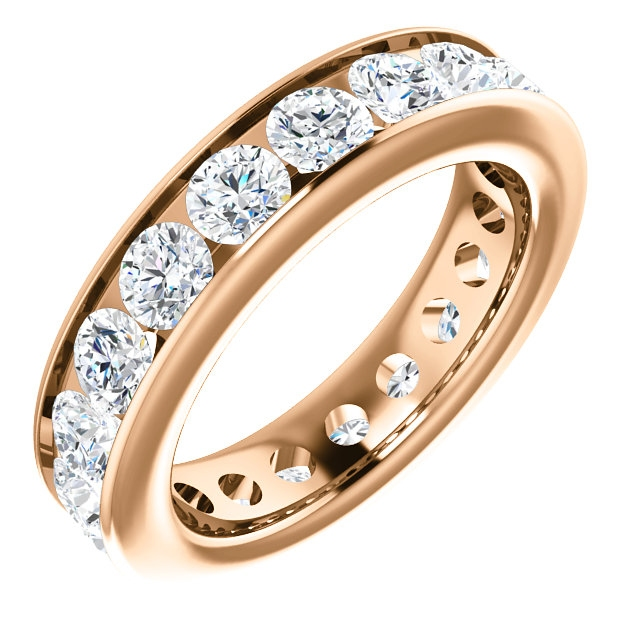 Item # SR128774285RE - 18K rose gold eternity band. The ring holds 19 round brilliant cut diamonds, each measures 3.5 mm. The diamonds total weight is approximately 2.85 ct, in size 6.0. VS1-2 in clarity, very clean and G-H in color, near colorless to colorless. The diamonds are channel set. There may be more diamonds in larger ring sizes. The band is about 4.8mm wide.