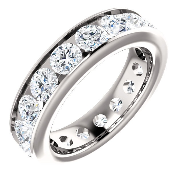 Item # SR128774350WE - 18K white gold eternity band. The ring holds 17 round brilliant cut diamonds, each measures 3.8 mm. The diamonds total weight is approximately 3.50ct, in size 6.0. VS1-2 in clarity, very clean and G-H in color, near colorless to colorless. The diamonds are channel set. There may be more diamonds in larger ring sizes. The band is about 4.8mm wide.