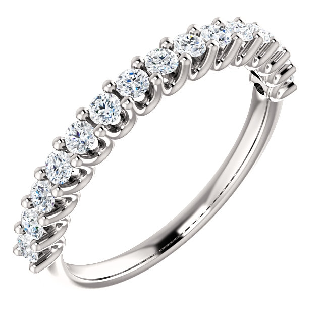 Item # SR128858050PP - Platinum Eternal-Love anniversary band. the ring holds 15 round brilliant diamonds with total weight of 0.50ct. The diamonds are graded as SI1 in clarity G-H in color.