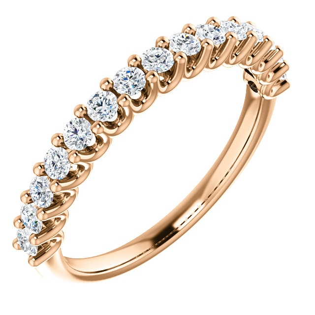 Item # SR128858050R - Eternal-Love 14K rose gold anniversary band. the ring holds 15 round brilliant diamonds with total weight of 0.50ct. The diamonds are graded as SI1 in clarity G-H in color.