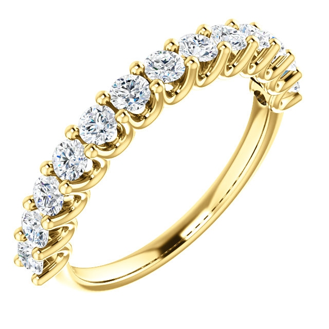 Item # SR128858075 - Eternal-Love 14K gold anniversary band. the ring holds 13 round brilliant diamonds with total weight of 0.75ct. The diamonds are graded as SI1 in clarity G-H in color.