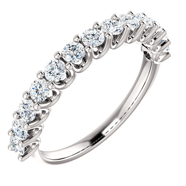 Item # SR128858075PP - Eternal-Love platinum anniversary band. the ring holds 13 round brilliant diamonds with total weight of 0.75ct. The diamonds are graded as VS in clarity G-H in color.