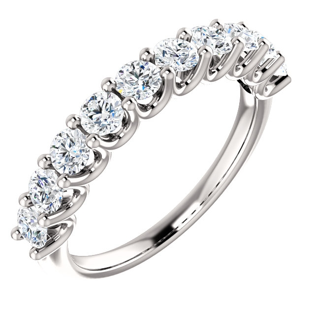 Item # SR128858100PP - Eternal-Love platinum anniversary band. the ring holds 10 round brilliant diamonds with total weight of 1.0ct. The diamonds are graded as VS in clarity G-H in color.