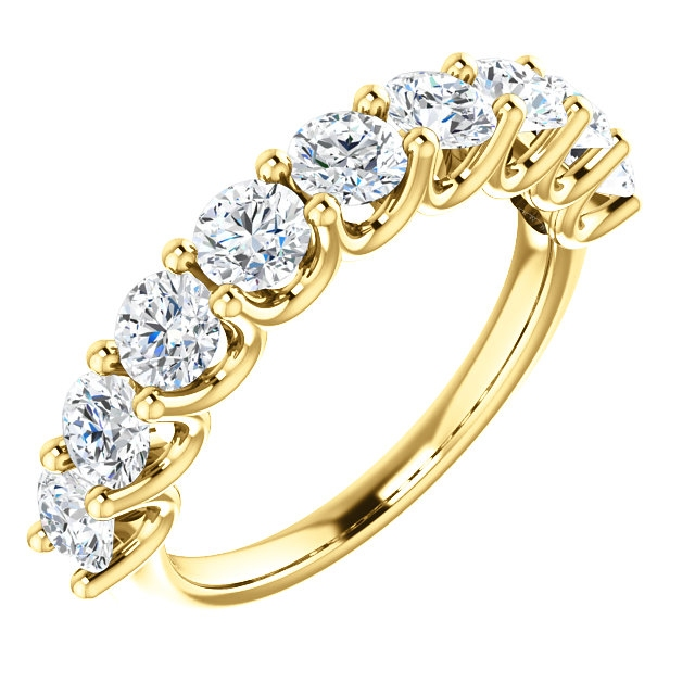 Item # SR128858175E - Eternal-Love 18K gold anniversary band. the ring holds 9 round brilliant diamonds with total weight of 1.75ct. The diamonds are graded as SI1 in clarity G-H in color.