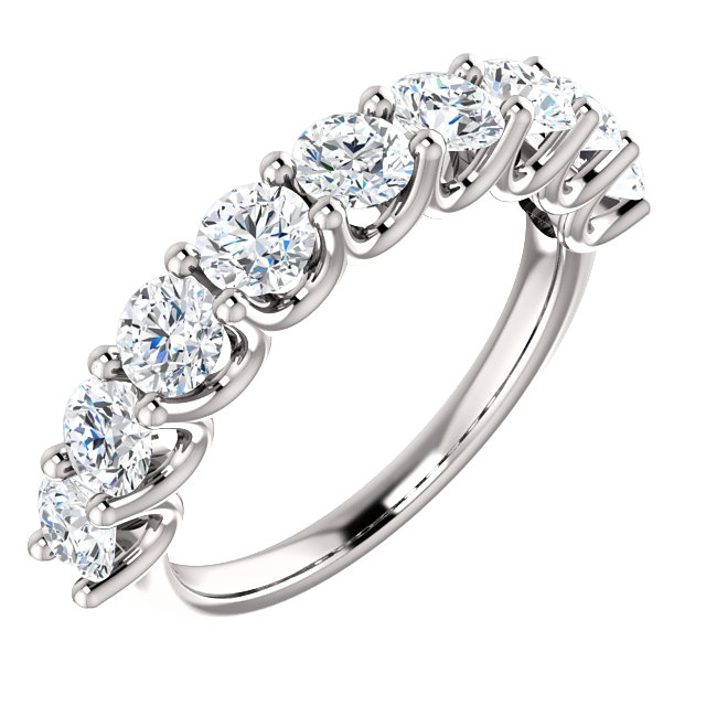 Item # SR128858175W - Eternal-Love 14K white gold anniversary band. the ring holds 9 round brilliant diamonds with total weight of 1.75ct. The diamonds are graded as SI1 in clarity G-H in color.