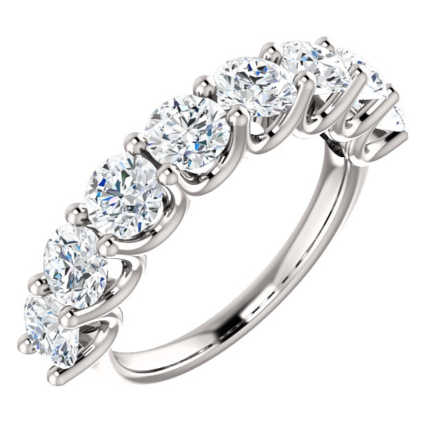 Item # SR128858250PP - Eternal-Love 950-platinum anniversary band. the ring holds 8 round brilliant diamonds with total weight of 2.50ct. The diamonds are graded as VS in clarity G-H in color.