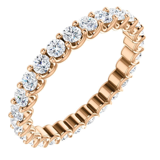 Item # SR128869100R - Eternal-Love diamond eternity band in 14K rose gold. Diamonds are set in shared prongs with a draped side profile displays an endless row of floating round brilliant-cut diamonds. The diamond total weight is approximately 1.0ct in size 6.0.