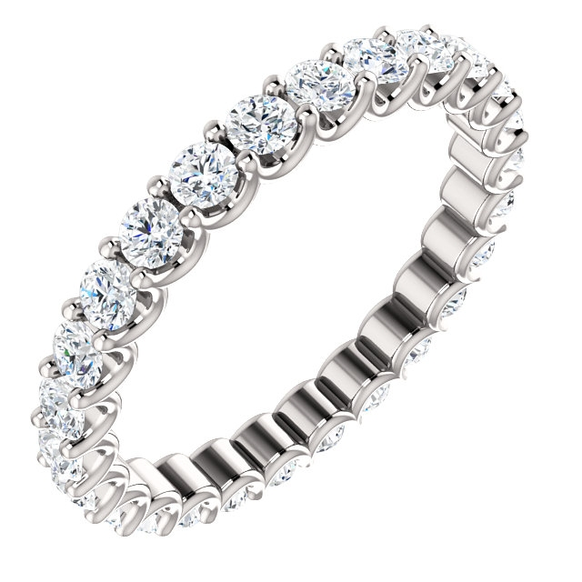 Item # SR128869100W - Eternal-Love diamond eternity band in 14K white gold. Diamonds are set in shared prongs with a draped side profile displays an endless row of floating round brilliant-cut diamonds. The diamond total weight is approximately 1.0ct in size 6.0.