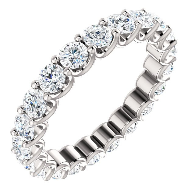 Item # SR128869210WE - Eternal-Love diamond eternity band in 18K white gold. Diamonds are set in shared prongs with a draped side profile displays an endless row of floating round brilliant-cut diamonds. The diamond total weight is approximately 2.10ct in size 6.0.
