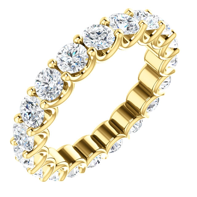 Item # SR128869290E - Eternal-Love diamond eternity band in 18K yellow gold. Diamonds are set in shared prongs with a draped side profile displays an endless row of floating round brilliant-cut diamonds. The diamond total weight is approximately 2.90ct in size 6.0.