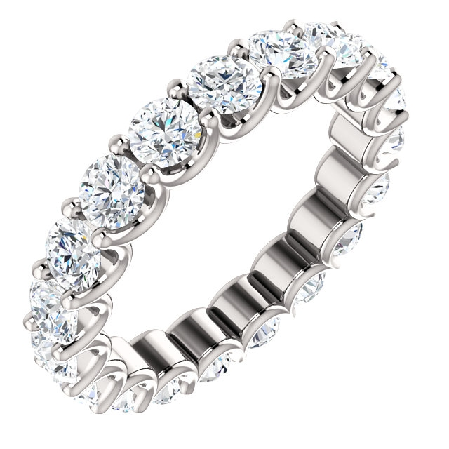 Item # SR128869290WE - Eternal-Love diamond eternity band in 18K white gold. Diamonds are set in shared prongs with a draped side profile displays an endless row of floating round brilliant-cut diamonds. The diamond total weight is approximately 2.90ct in size 6.0.