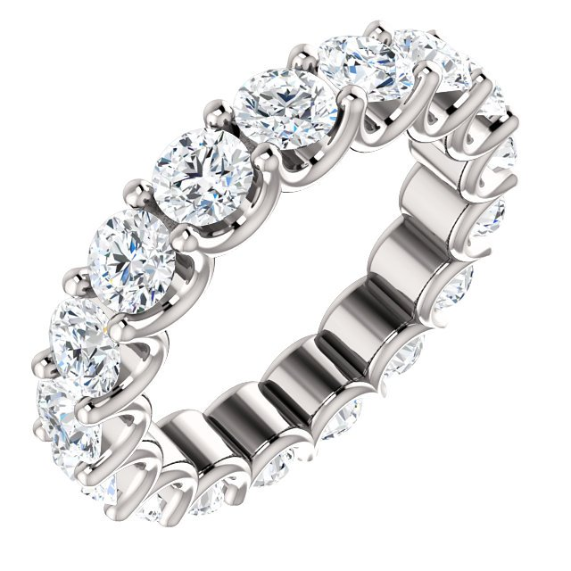 Item # SR128869350W - Eternal-Love eternity band in 14K white gold. The band holds 18 round brilliant diamonds with total weight of 3.5CT. The diamonds are graded as minimum H in color and SI1 in clarity.