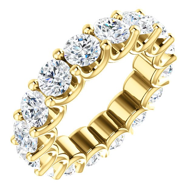 Item # SR128869525E - Eternal-Love eternity band in 18K yellow gold. The band holds 16 round brilliant diamonds with total weight of 3.5CT. The diamonds are graded as minimum H in color and SI1 in clarity.