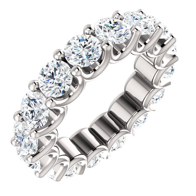 Item # SR128869525PP - Eternal-Love eternity band in Plainum. The band holds 16 round brilliant diamonds with total weight of 3.5CT. The diamonds are graded as minimum H in color and VS2 in clarity.