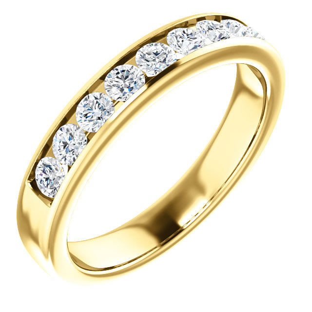 Item # SR9128811 - One 14K yellow gold 9 diamonds wedding band. Diamonds together weigh 1.0ct. The diamonds are all matching and are graded as VS inclarity G-H in color