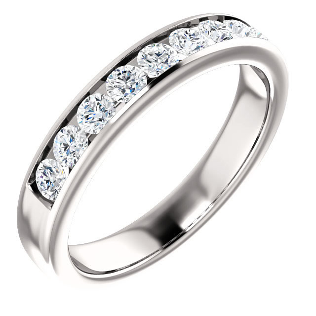 Item # SR9128811PP - Platinum 9 diamonds wedding band. Diamonds together weigh 1.0ct. The diamonds are all matching channel set and are graded as VS inclarity G-H in color