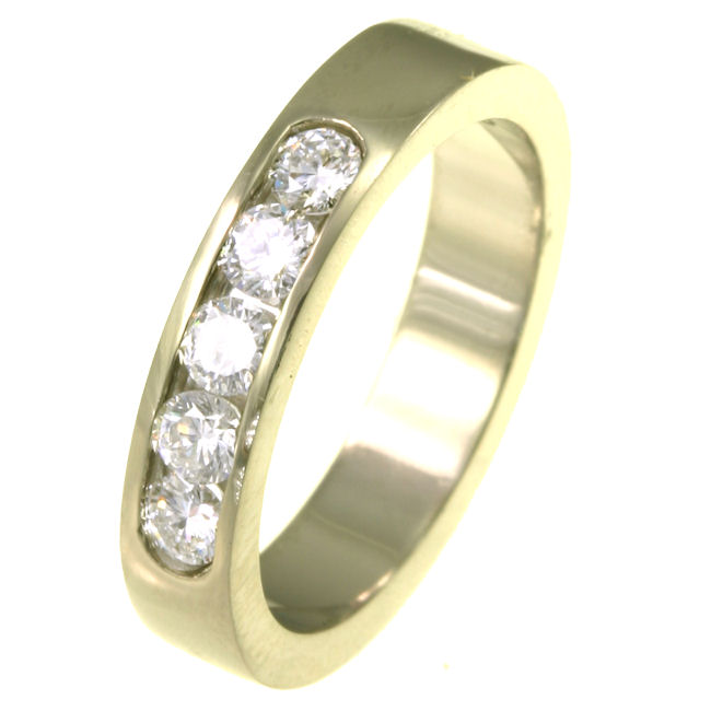 Item # ST10881A - 14K yellow gold, comfort fit, 4.0 mm wide diamond anniversary band. Diamonds total weight is 0.50 ct. The diamonds are graded as VS1-2 in clarity G-H in color. The finish on the ring is polished. Other finishes may be selected or specified.