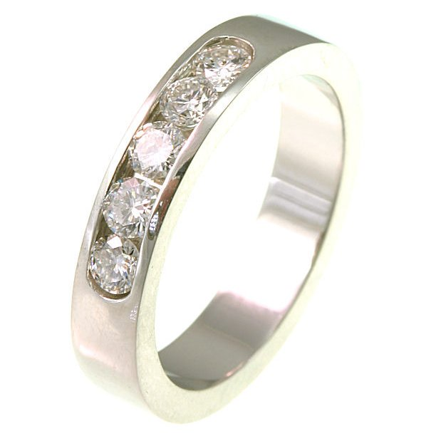 Item # ST10881W - 14K white gold, comfort fit, 4.0 mm wide diamond wedding band. Diamonds total weight is 0.50 ct. The diamonds are graded as VS1-2 in clarity G-H in color. The finish on the ring is polished. Other finishes may be selected or specified.