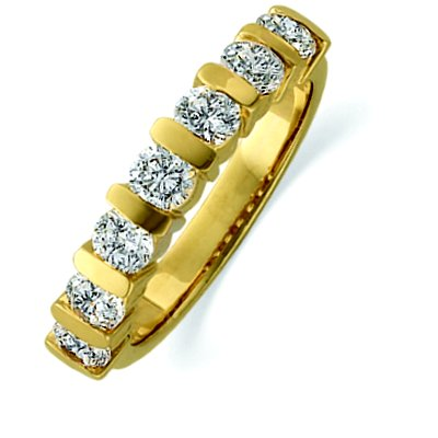 Item # ST11699 - 14 K yellow gold, 3.5 mm wide, anniversary band, holds 7 brilliant cut diamonds with total weight of approximately 1.0 ct. Diamonds are graded as VS1-2 in clarity G-H in color. The finish on the ring is polished. Other finishes may be selected or specified.