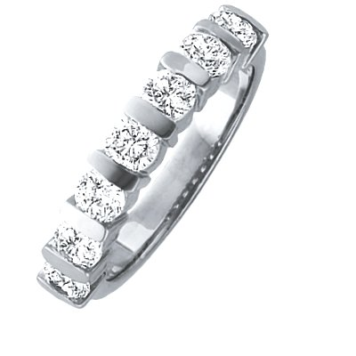 Item # ST11699W - 14 K white gold, 3.5 mm wide, anniversary band, holds 7 brilliant cut diamonds with total weight of approximately 1.0 ct. Diamonds are graded as VS1-2 in clarity G-H in color. The finish on the ring is polished. Other finishes may be selected or specified.