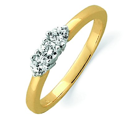 Item # ST12022425 - 14 K yellow gold ring holds three round brilliant cut diamonds with total weight 0.25 ct. The diamonds are graded as VS1-2 in clarity G-H in color. The finish on the ring is polished. Other finishes may be selected or specified.