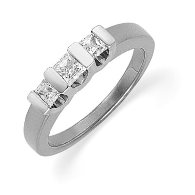 Item # ST120667W - 14 K white gold three princess cut brilliant diamond anniversary band. The diamond total weight is approximately 0.50 ct. The diamonds are graded as VS1-2 in clarity G-H in color. The finish on the ring is polished. Other finishes may be selected or specified.
