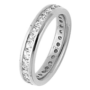 Item # ST126479W - One 14 kt white gold eternity ring. Each diamond measures approximately 2.25mm and in size 6.0 the ring holds 27 princess cut brilliant diamonds. The diamonds total weight in size 6.0 is approximately 1.94 ct. The diamonds are graded as VS in clarity G-H in color.