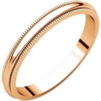 Item # T123841RE - 18K Rose Gold 2.5mm Milgrain Comfort Fit Plain Wedding Band