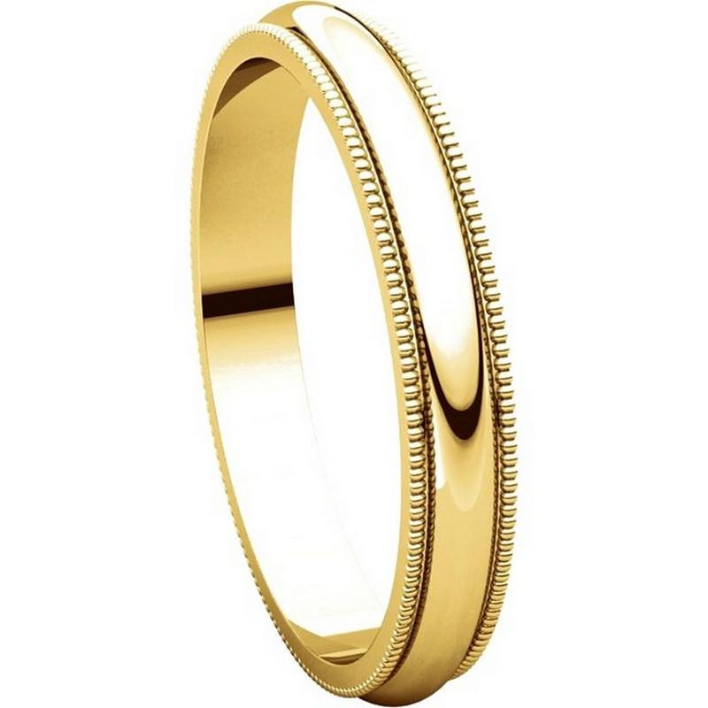 V123791pp Platinum Plain 3mm Wide Comfort Fit Wedding Band: T123851 14K Gold 3mm Milgrain Edge Comfort Fit Wedding Band