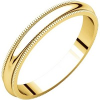 Item # T123851E - 18K Gold 3mm Milgrain Edge Comfort Fit Wedding Band