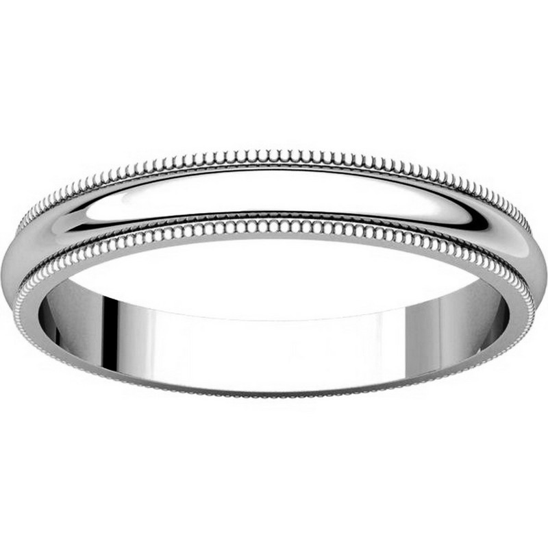 Item # T123851W View 3 - 14K White Gold 3mm Milgrain Edge Comfort Fit Wedding Band