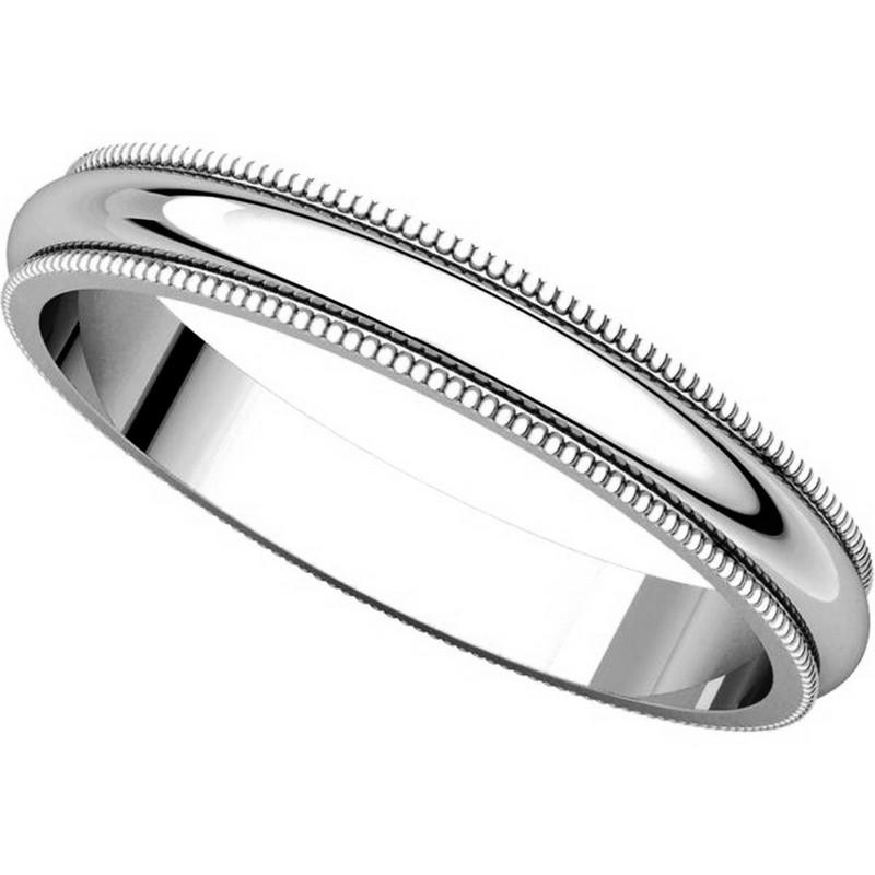 V123791pp Platinum Plain 3mm Wide Comfort Fit Wedding Band: T123851W 14K White Gold 3mm Milgrain Edge Comfort Fit