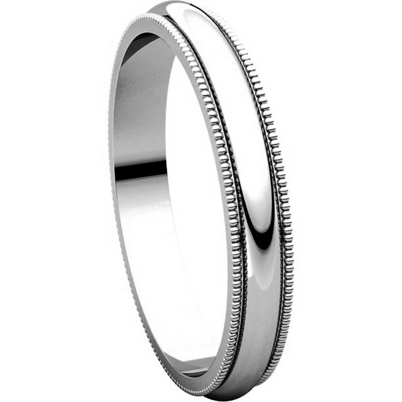 Item # T123851W View 5 - 14K White Gold 3mm Milgrain Edge Comfort Fit Wedding Band