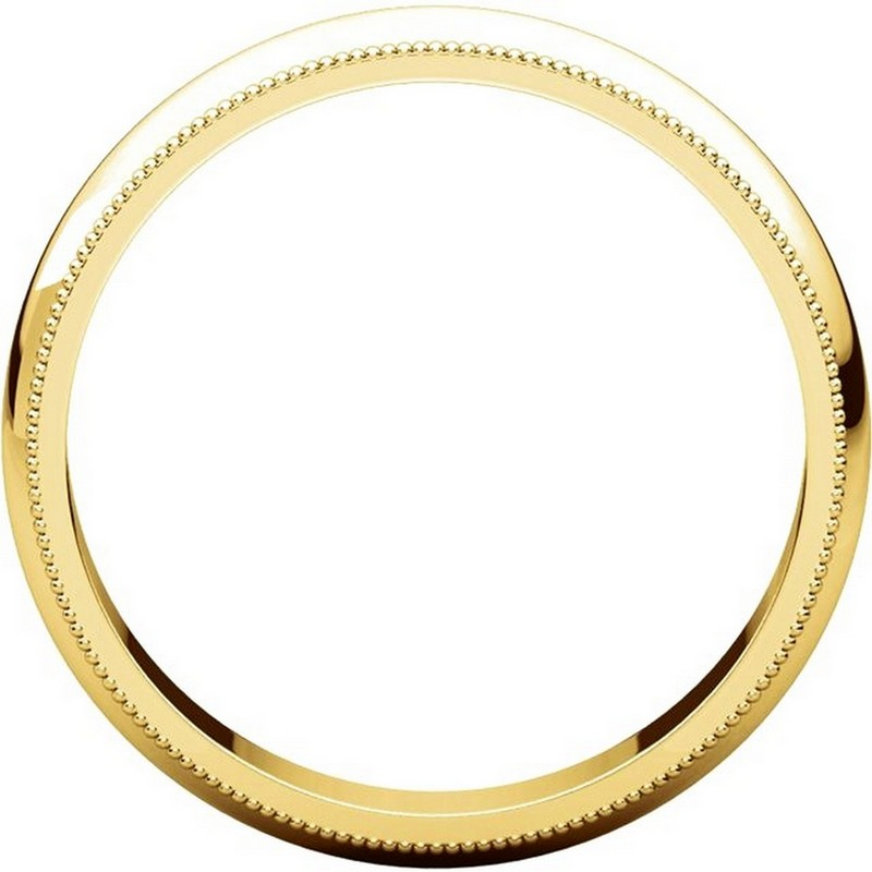 Item # T123861 View 2 - 14K Yellow Gold 4mm Comfort Fit Milgrain Edge Band