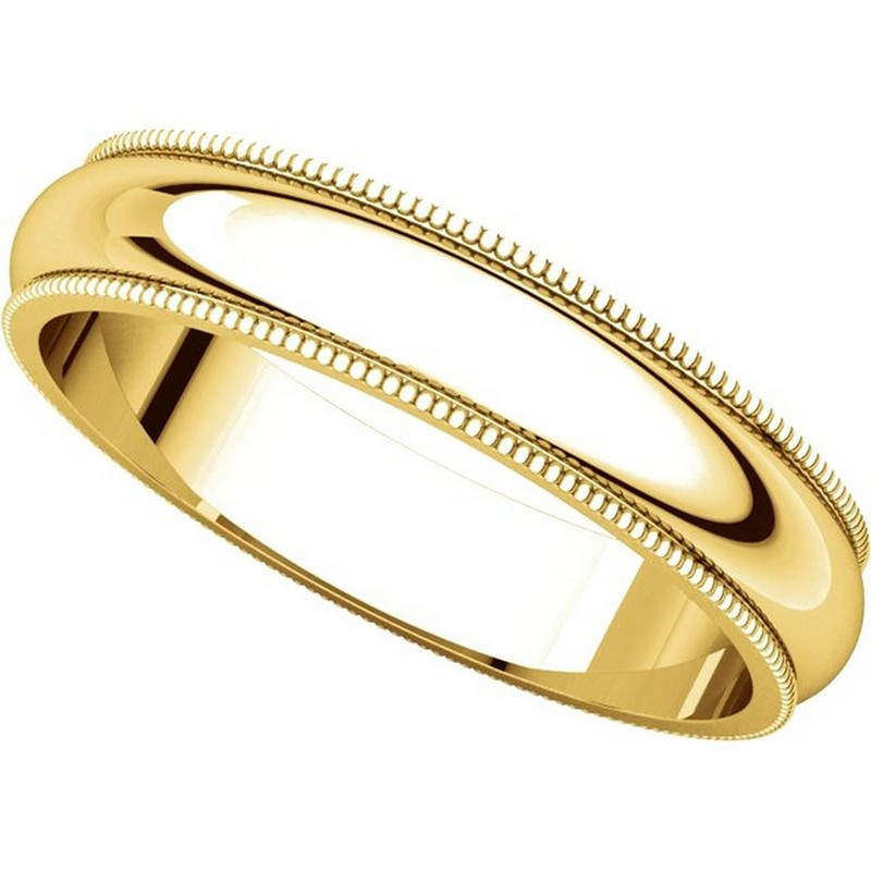 Item # T123861 View 4 - 14K Yellow Gold 4mm Comfort Fit Milgrain Edge Band
