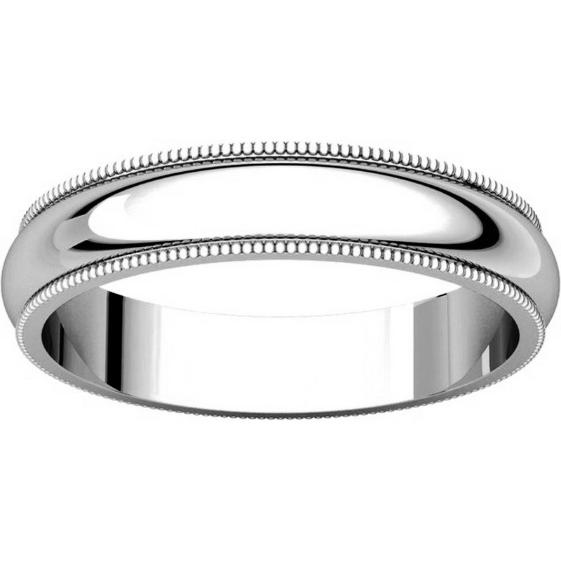 Item # T123861WE View 3 - 18K White Gold 4mm Comfort Fit Milgrain Edge Band