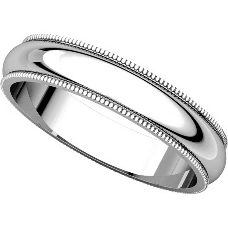 Item # T123861WE View 4 - 18K White Gold 4mm Comfort Fit Milgrain Edge Band