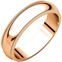 Item # T123871R - 14K Rose Comfort Fit Milgrain 5mm Wedding Band
