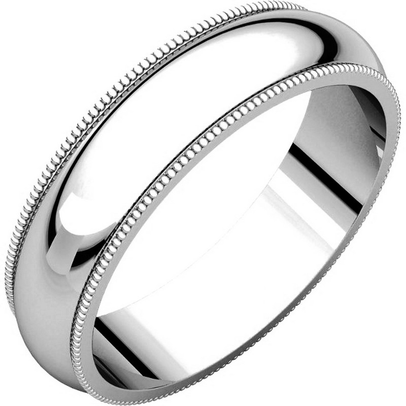 Item # T123871WE - 18K white gold, 5.0 mm wide, comfort fit, milgrain edge wedding band. The finish on the ring is polished. Other finishes may be selected or specified.