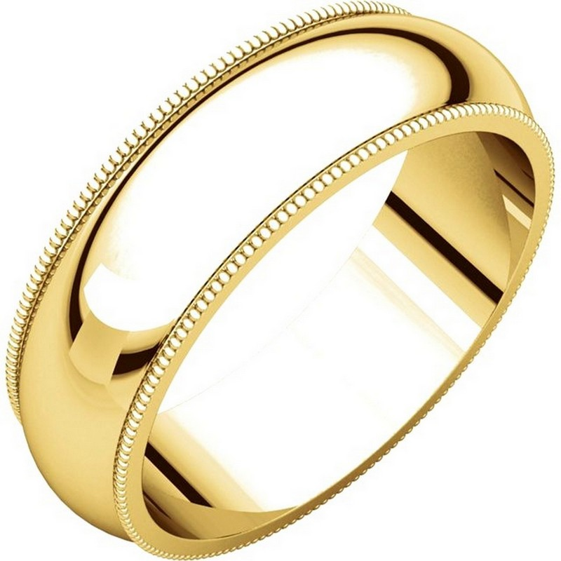 Item # T123881E - 18K gold 6.0 mm wide comfort fit milgrain edge wedding band. The finish on the ring is polished. Other finishes may be selected or specified.