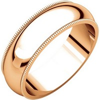 Item # T123881R - 14K Rose Comfort Fit Milgrain �6mm Wedding Band