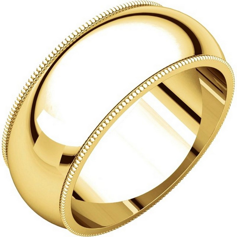 Item # T123891 - 14K yellow gold, 8.0 mm wide, comfort fit, milgrain edge wedding band. The finish on the ring is polished. Other finishes may be selected or specified.