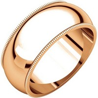 Item # T123891RE - 18K Rose Comfort Fit Milgrain 8mm Wedding Band