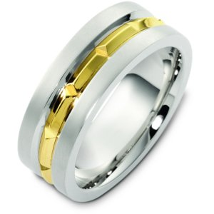 Item # T125611E - 18K two-tone gold, 8.0 mm wide, comfort fit, wedding band. The finish in the center is polished and the outer edges are matte. Other finishes may be selected or specified.