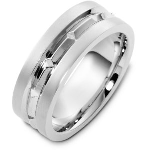 Item # T125611W - 14K white gold, 8.0 mm wide, comfort fit, wedding band. The finish in the center is polished and the outer edges are matte. Other finishes may be selected or specified.