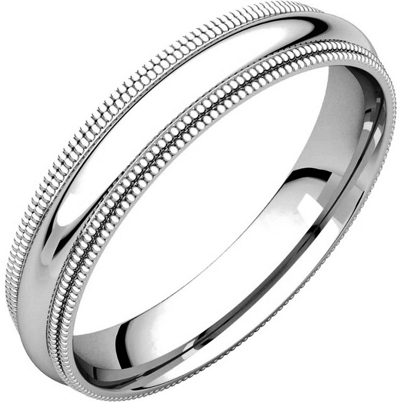 Item # TD123864PP - Platinum 4.0 mm wide comfort fit double milgrain edge wedding band. The finish on the ring is polished. Other finishes may be selected or specified.