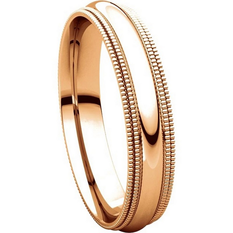 Item # TD123864R View 5 - 14K Rose Gold Double Milgrain 4mm Comfort Fit Wedding Band