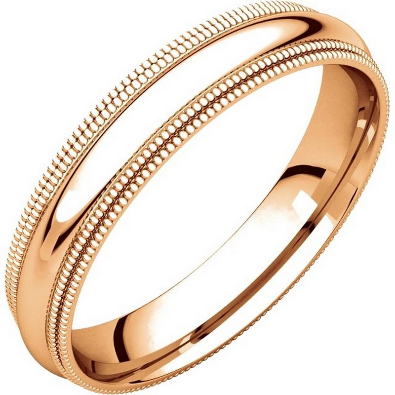 Item # TD123864R - 14K Rose gold 4.0 mm wide comfort fit double milgrain edge wedding band. The finish on the ring is polished. Other finishes may be selected or specified.