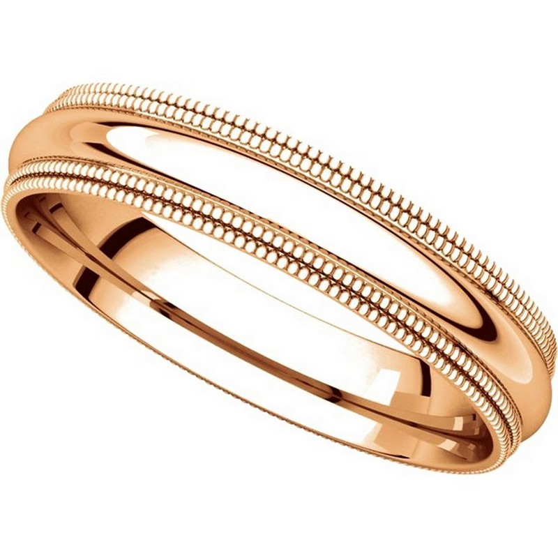 Item # TD123864RE View 4 - 18K Rose Gold Double Milgrain 4mm Comfort Fit Wedding Band