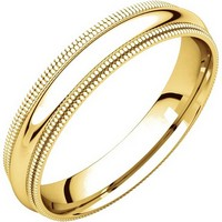 Item # TD123864 - 14K Gold Double Milgrain 4mm Comfort Fit Wedding Band